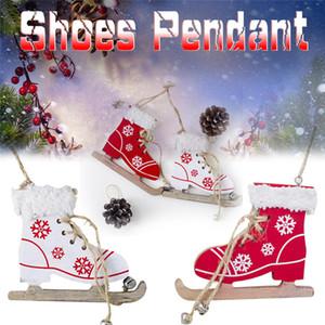 Natale decorativo ciondolo albero di Natale innovativo rosso bianco pattini scarpe da sci ciondolo porta di casa di Natale e decorazioni albero