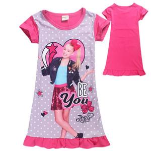 2018 Yaz Kız Pijama Giydirme JOJO Headbow Elbiseler Kızlar Kısa kollu Ev Giyim Kız 4-9Y Z11 için Pijama Elbise sevdiğin