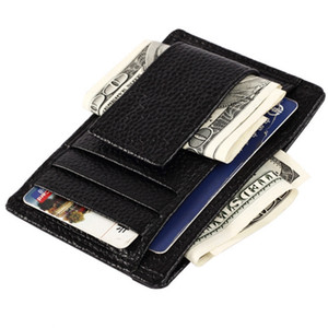 Hombres de cuero genuino Cash Money Clip With Card place Man Money Clip Wallet