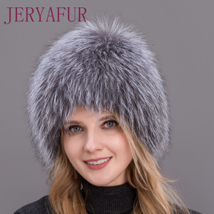 2017 Hot Sale 100% Natural Silver Fox Fur Women Winter Hat Knitted Cap Women Hat Fox Fur Bomber Hat Female Ear Warm Winter Must C18110801