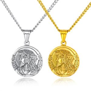Moda Klasik Dini Takı İsa Kolye Kolye Erkekler Için / Kadınlar Paslanmaz Çelik Yuvarlak Kolye Gümüş / Altın Renk