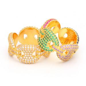 Hip Hop Hommes Chaîne Anneau Iced Out Or Argent Multicolore plaqué Micro Pavée cubique zircone anneaux Pour Hommes Bijoux