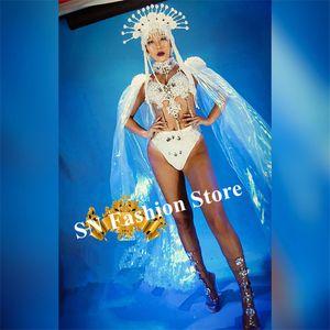 K20 Perspektive Mantel Bauchtanz Perle Bodysuit Sänger trägt Bühne Ballroom Dance Kostüm Party Performance DJ Kleid kleiden Bar sexy Outfit