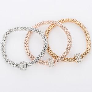 1set (3pcs) Fashion Rhinestone Beads Bracelet Popcorn Corn Chain Bracelets 3 colors bracelets Women Bangles Jewelry Gifts