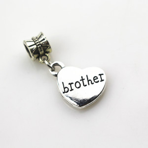 Hot selling 20pcs lot heart brother charms big hole pendant beads charm fit nacklace bracelet diy jewelry dangle charms