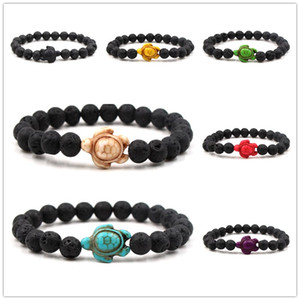 Schildkröte Charms 8mm natürliche schwarze Lava Stein Perlen Armband ätherisches Öl Parfüm Diffusor Armbänder Stretch Yoga Schmuck