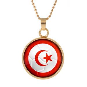 Nuevo Tridimensional 2018 Copa del Mundo Túnez Collar Colgante colorido colgante de cristal Cabochon Dome Collares joyería superventas customed