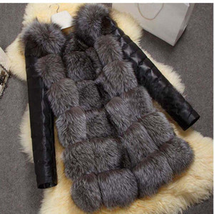 Clobee S-4XL 2018 Winter Coat Women Thick Faux  Fur Coat with PU sleeve Female Fake Fur Jacket gilet chalecos de pelo mujer