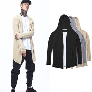 Fashion New Thin Section Lengthened Men's Hooded Long-sleeved Cloak Knit Cardigan Unisex Solid Color Couple Casual Sweater