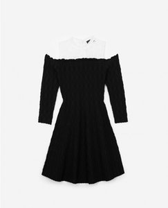 2018 French Stretch Knit Pure Color Off Shoulders Crewneck Lace Panelled Lady One Piece Dresses Women Dress MBL916 Fall Autumn