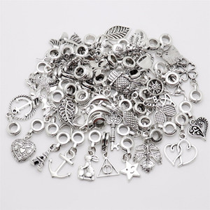 Mix 50pcs/lot Vintage Big Hole Loose  European Pendant fit  charm bracelet DIY Metal jewelry making