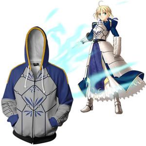 Taille asiatique Japan Anime Fate Stay Night Altria Pendragon Cosplay 3D Costume unisexe Casual manches longues manteau Zipper Veste à capuche