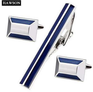 HAWSON À La Mode Bleu Tie Clips Boutons De Manchette Hommes émail Cuff lien et cravate Ensembles De Mode Cuivre En Métal Tie Pin Sets