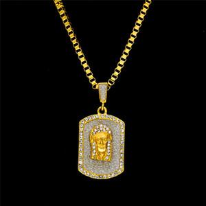 Модного Hiphop Иисус Tag Pedant ожерелье Bling фианиты Мужчины хип-хоп ювелирные изделия 18K позолоченное ожерелье