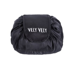 Vely Lazy Cosmetic Bag Drawstring Wash Bag Makeup Pouch Organizer Storage Large Capacity Travel Portable Toiletry Bag