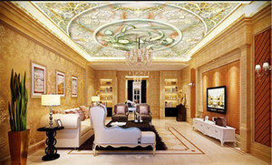 3d ceiling Murals wallpaper Marble European pattern lotus ceiling European pattern floor frescoes