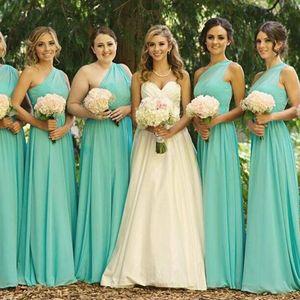 2019 롱 비치 신부 들러리 드레스 한 어깨 민소매 쉬폰 바닥 길이 저렴한 하녀 명예 가운 신부 들러리 드레스 결혼식을위한 드레스