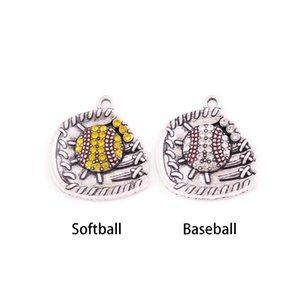 Kayısı FU Güzellik Beyzbol Softbol Eldiven Ve Top Temizle Kristal Charm Kolye Takı