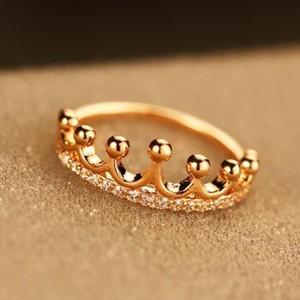 Couronne Bague en or plaqué Figner Bague mode cristal Zircon Charms Bagues de femmes bijoux vintage costume de soirée de mariage Accessoires