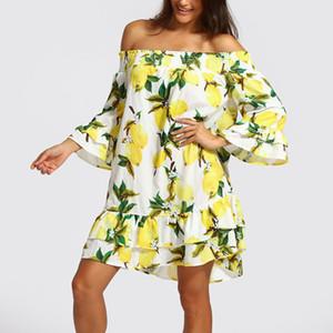 FeiTong Fırfır kapalı omuz kısa elbise yaz 2018 limon baskı backless sarı elbise kadınlar Yüksek bel rahat plaj elbise kadın