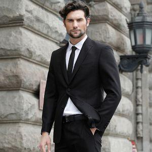 Black Business Men Suits Slim Fit Wedding Groom Tuxedos 2 Pieces (Jacket+Pants) Bridegroom Suits Best Man Blazer