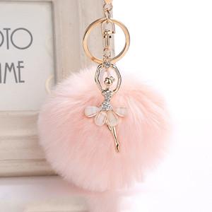 Fluffy ballerine Keychain strass Keychain de lapin de fourrure Pompon boule porte-clé Chaveiro Ballet Ballerine Porte-clés Sac à main femme charme