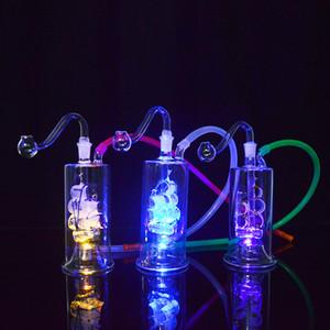 "5 ""Led Dab Rig Tubos de agua Bongs Velero LED Glass Hookahs Aceite de fumar tubo con martillo en línea Perc Portable Bubblers Oil Rig"