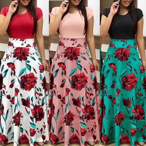 Élégant Maxi Jupe Femmes 2018 Jupes Femme Jupes Longues pour les Femmes F0031 Floral Print Taille Haute