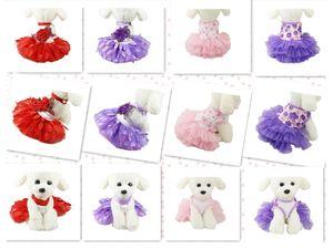 Multi Patterns Coloré Été Pet Mode Doux Mignon Sexy Chaud Princesse Paon Feuille Pet Chien Dentelle Tutu Robe D'été En Gros Livraison Gratuite