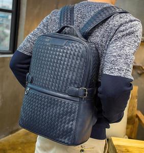 Usine de gros tendance sac à dos en cuir tissé main sac hommes marque vent collège homme en cuir sac à dos de haute qualité casual marque tissé Sac à dos