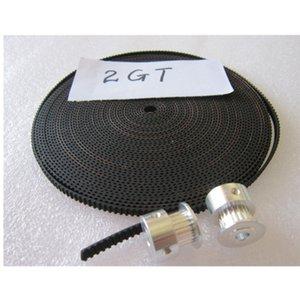 GT2 도르래와 열기 GT2 타이밍 벨트 KIT 보어 5mm 20 치아 20-GT2-6 및 3D 프린터 부품에 대 한 2m GT2-6mm 블랙 고무 YS-3D02
