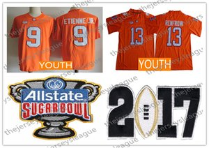 Clemson Tigers Youth # 9 Travis Etienne Jr. 13 Hunter Renfrow 새 오렌지 스티칭 키즈 NCAA 대학 축구 유니폼 S-XL