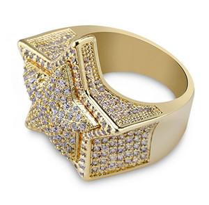 Mens 3D Super Star Золото CZ Bling Bling Кольца 18K желтого золота покрытые Iced Out Кубический цирконий Micro Pave Ring Hip Hop Jewelry с подарочной коробкой