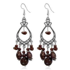 Silber Tropfen Ohrringe für Frauen Mädchen Vintage tibetischen Harz Edelstein Dangle und Chandelier Ohrringe Modeschmuck Großhandel - 0807WH