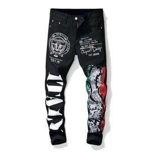 Famous Brand Fashion Designer 3D Impreso Mens Jeans Unique Man Biker Printing Cotton Pantalones vaqueros rasgados de gran tamaño para hombres Pantalones de mezclilla 100% algodón