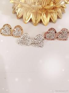 orecchini lettera di lusso con diamanti a forma di cuore della lega di alta lucido MK chiodo dell'orecchio
