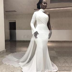Robes de soirée sexy sirène nigérianes à une épaule avec ruban Wrap 2019 Afrique du Sud caftan en mousseline de soie train robes de bal manches longues