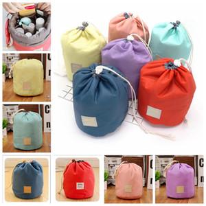 6 Renkler Womens Su geçirmez Saklama Torbaları Organizatör Silindir kozmetik çantası Naylon İpli Seyahat Çantası açık Çanta Organizatör GGA835 100 adet