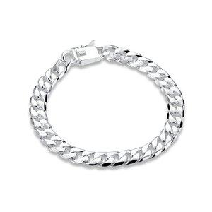 8MM cadeia de mão cadeia lateral - dinheiro pulseira de prata esterlina banhado masculino; homens e mulheres venda Hot 925 pulseira de prata SPB227