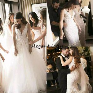 2019 Steven Khalil Mermaid Robes de mariée avec jupe detécahable Sweep Train pour Dance Pearls Deep V Couleur Camp Robes De Mariée Robe de mariée