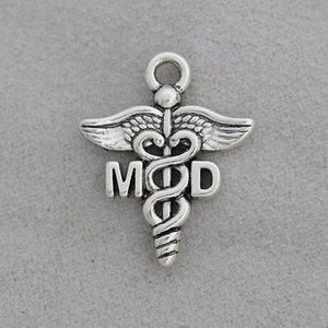 Recién llegado de señal médica aleación MD encantos Vintage caduceo encantos 100 unids 19 * 23 mm AAC1298