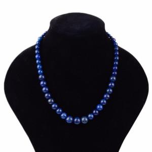 Trendy 100% Natural Stone Lapis Lazuli Beaded Necklace Boho Handmade Gem stone Chocker Necklaces For Women Men Jewelry Dropship