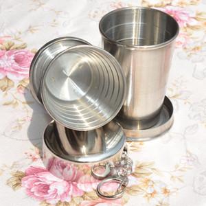 75 ml 140 ml 240 ml 접는 컵 스테인레스 스틸 휴대용 야외 여행 캠핑 접을 수있는 컵 금속 망원경 키 체인 머그컵 DHL 무료 WX9-348