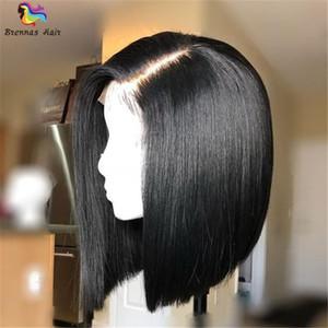 new comming Luxury 8-14inch Neat e Natural 150% Density Front Lace Bob Silky parrucche diritte con nodi candeggiati per donna nera
