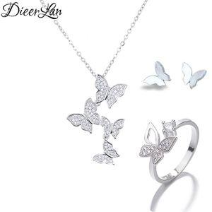 925 Sterling Silver Long Butterfly Necklaces Pendant Butterfly Earrings Rings Jewelry Sets for Women sterling-silver-jewelry