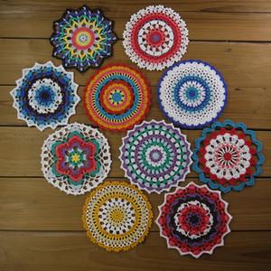 Mandala en flor de 10 piezas, mandala en crochet, tapete de crochet, tapetes, posavasos redondos de algodón Mandalas, tapetes de 6-6.5 pulgadas
