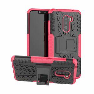 Xiaomi Pocophone F1 케이스의 경우 고품질 Xiaomi Pocophone F1의 견고한 콤보 하이브리드 아머 브래킷 임팩트 홀스터 보호 커버