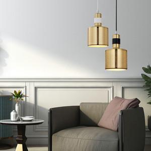 Creative Multiholes Lampshade Hanging Lamp Bedroom Bedside Small Metal Light Fixture Designer Gold Hollow Pendant Lamp