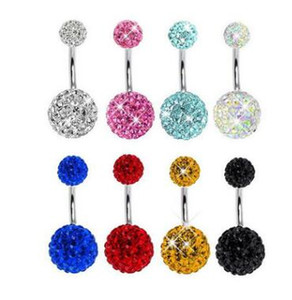 Top quality 316L Stainless Steel round Crystal Navel Bars Gold Belly Button Ring Navel Piercing Jewelry 5x8cm 938