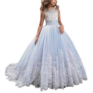 Appliques à fleurs à manches longues à manches longues Pageant Dress Filles Robe de demoiselle d'honneur